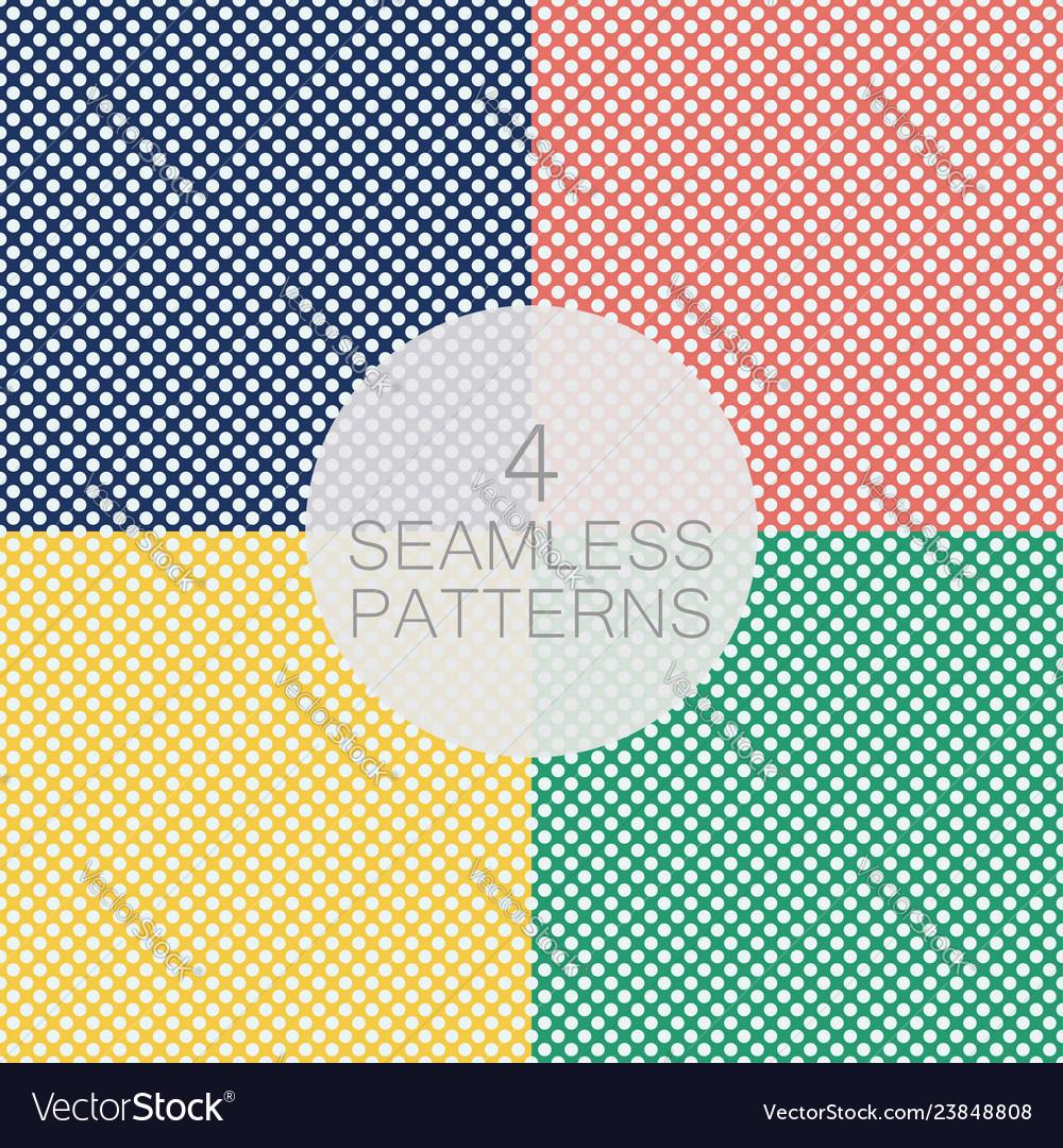Set polka dot seamless pattern