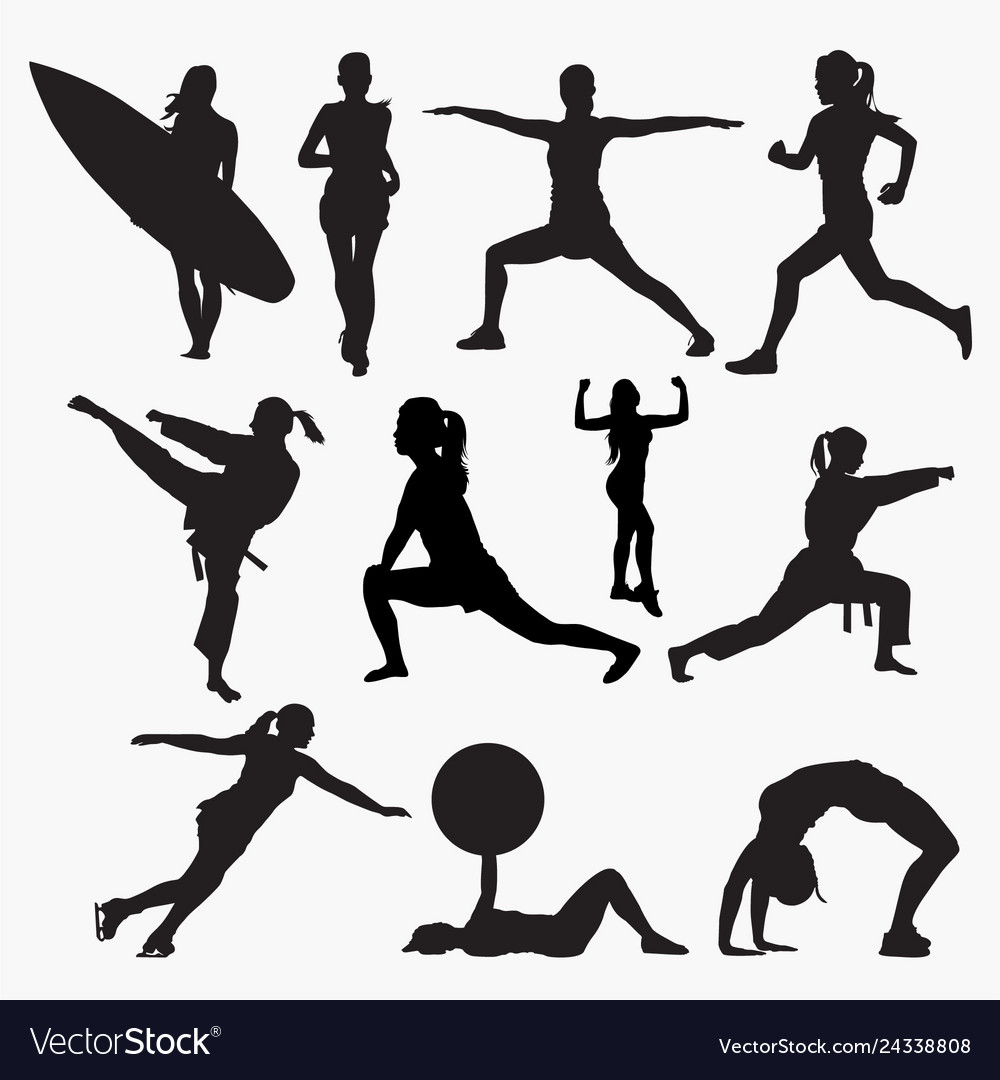 Silhouettes of woman activity