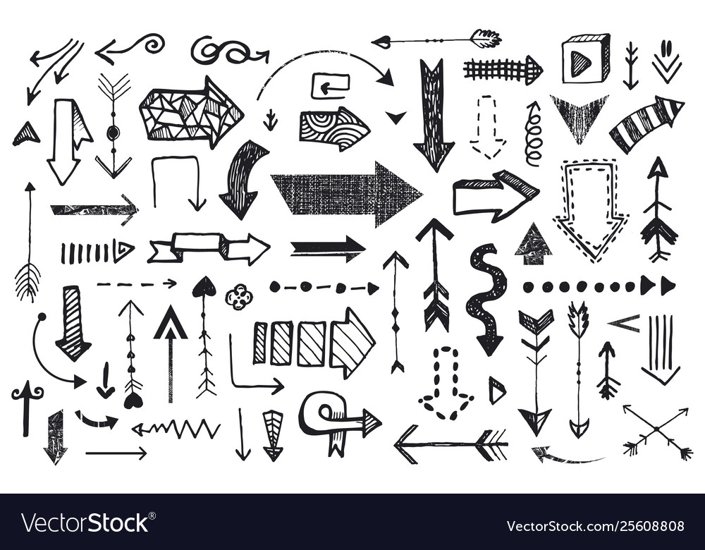 Ve tor set hand drawn arrows illustration
