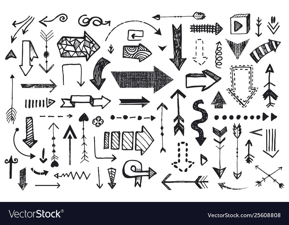 Ve tor set hand drawn arrows llustration of