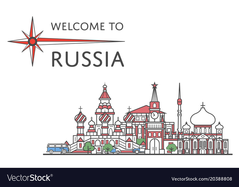 Welcome to russia poster in linear style