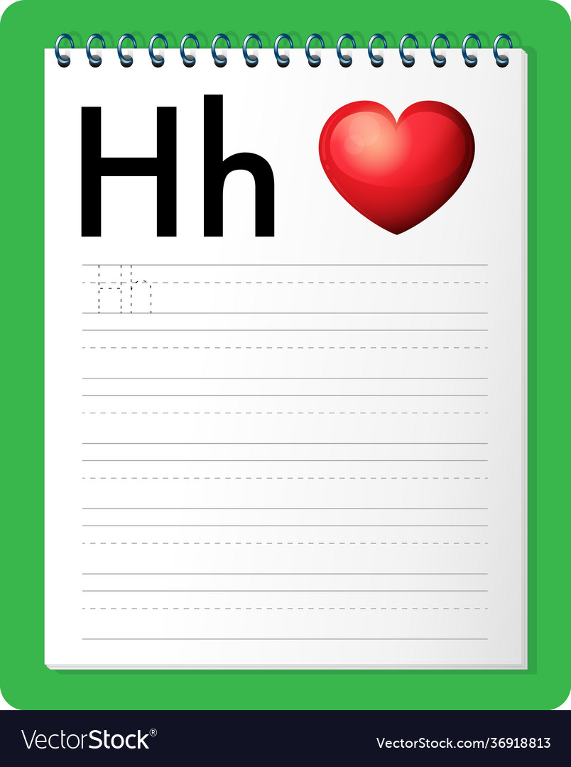 Alphabet tracing worksheet with letter h and h