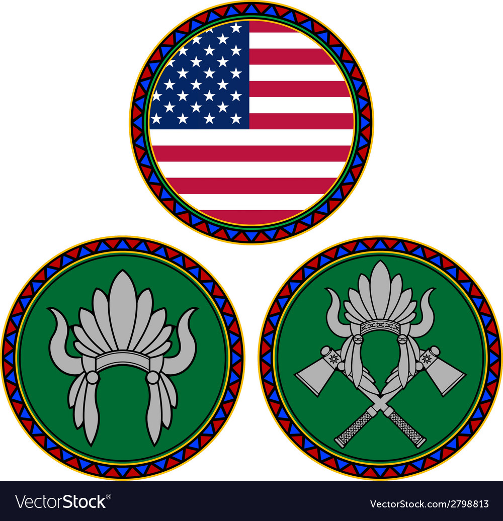 American flag and indian headdress vector image