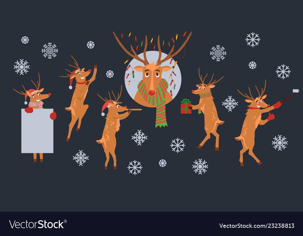 Cute christmas reindeer characters set