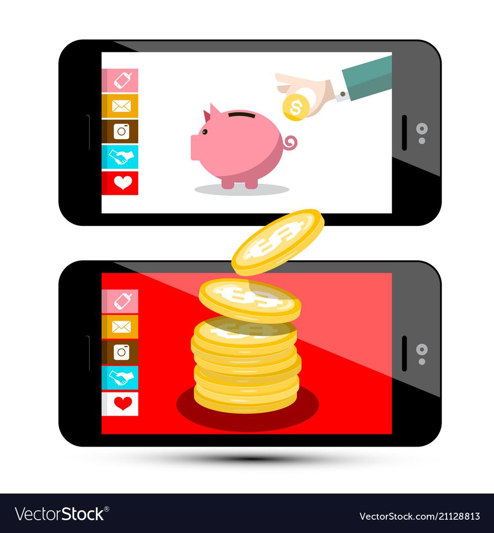 Finance concept money app on smartphone flat