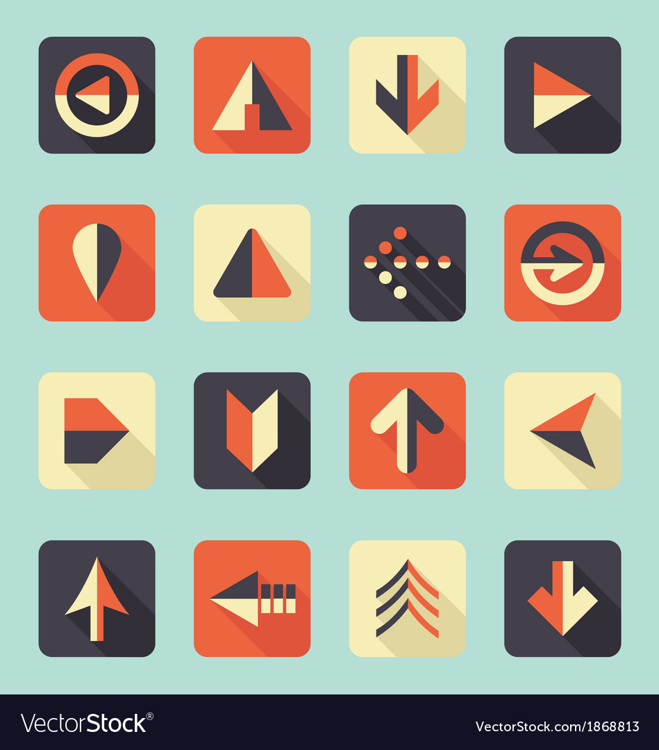 Flat Arrow Icons With Shadows