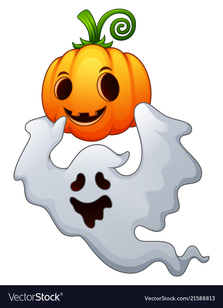 Halloween ghosts holding a pumpkin Royalty Free Vector Image