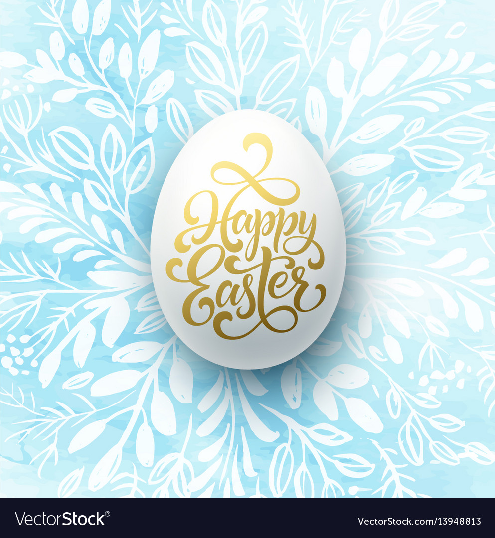 Happy easter lettering on watercolor wreath