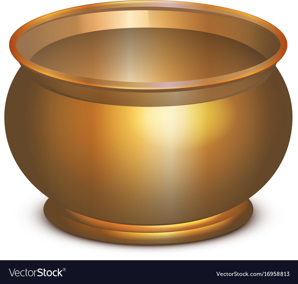 large empty copper cauldron halloween accessory vector image