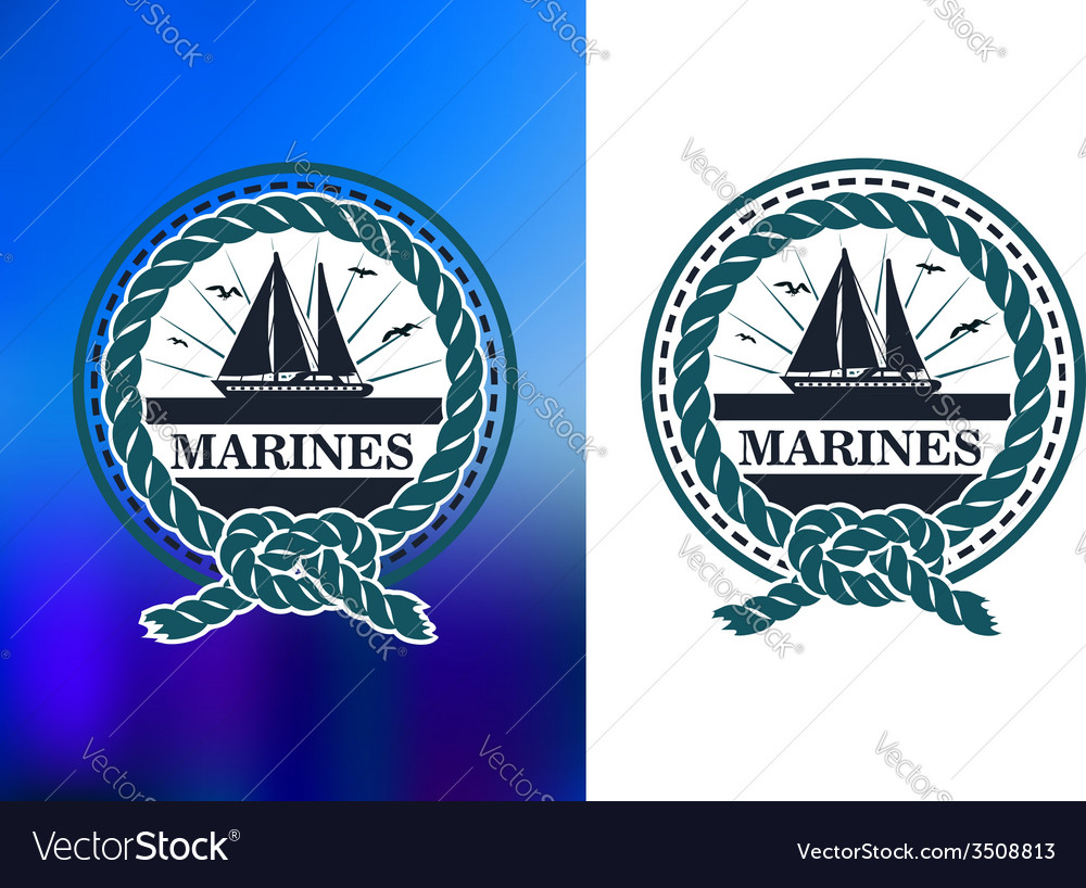 Marines circle emblem logo in retro style