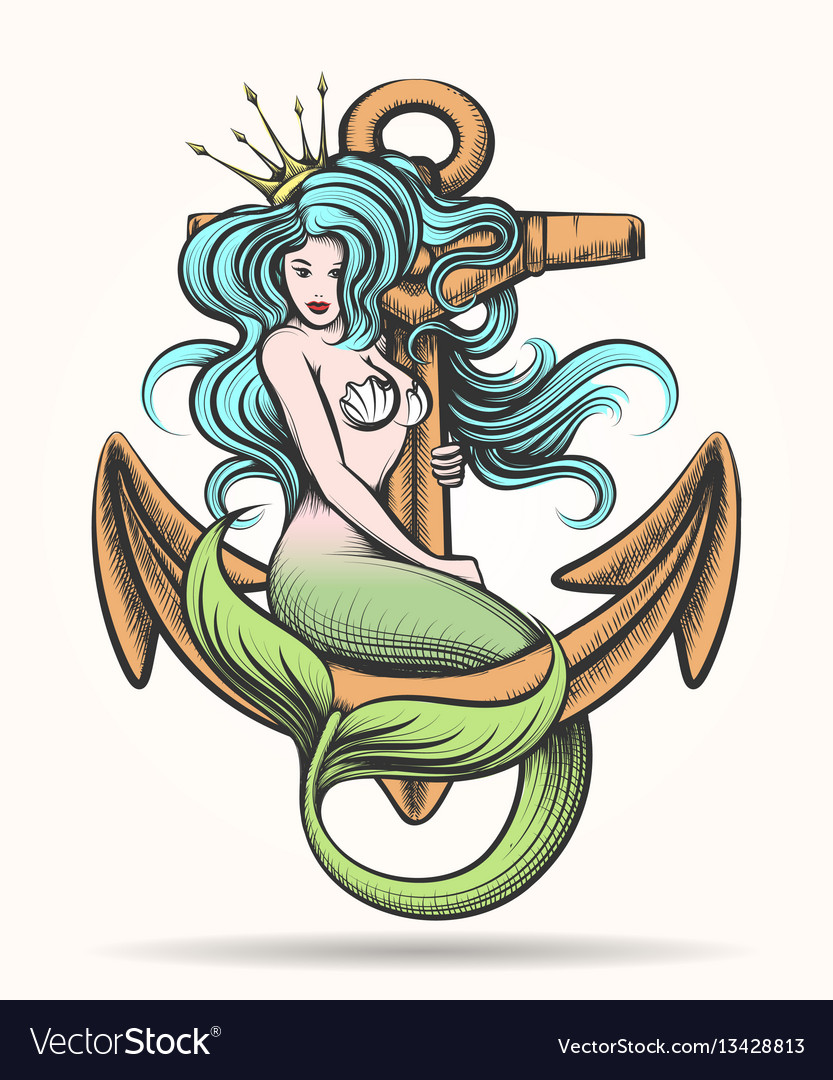 Mermaid with crown on the anchor