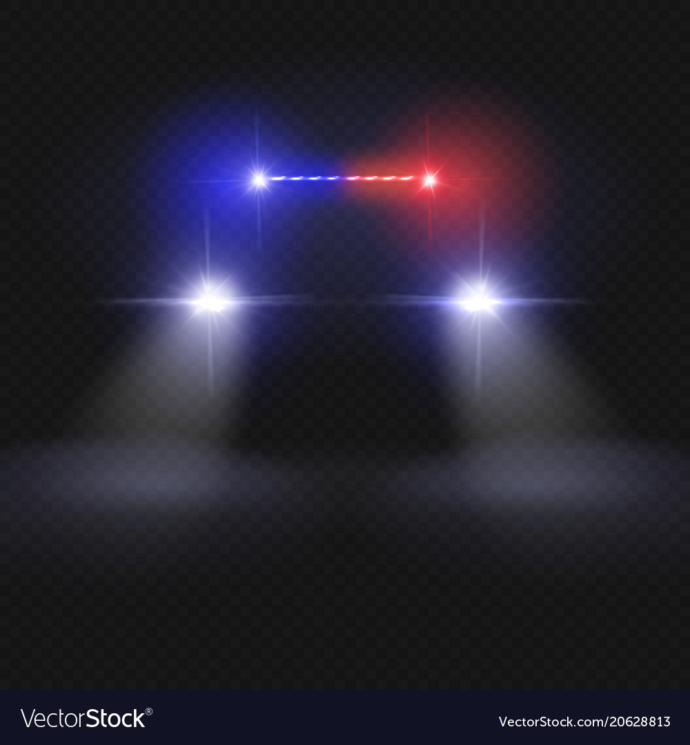 Police car headlight beams isolated on dark