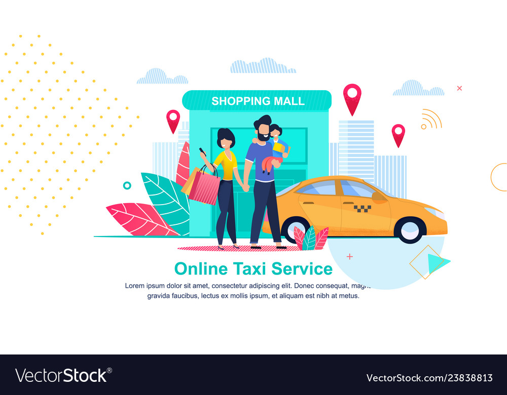 Shopping mall online taxi service streets city