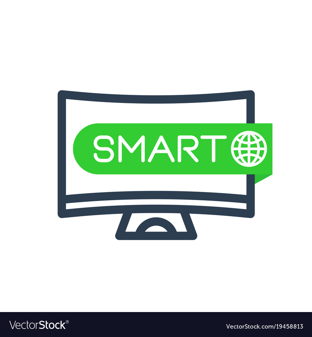 Smart tv icon linear sign