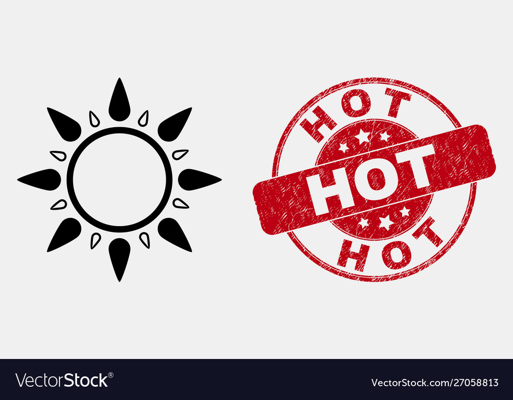Stroke sun icon and grunge hot stamp seal