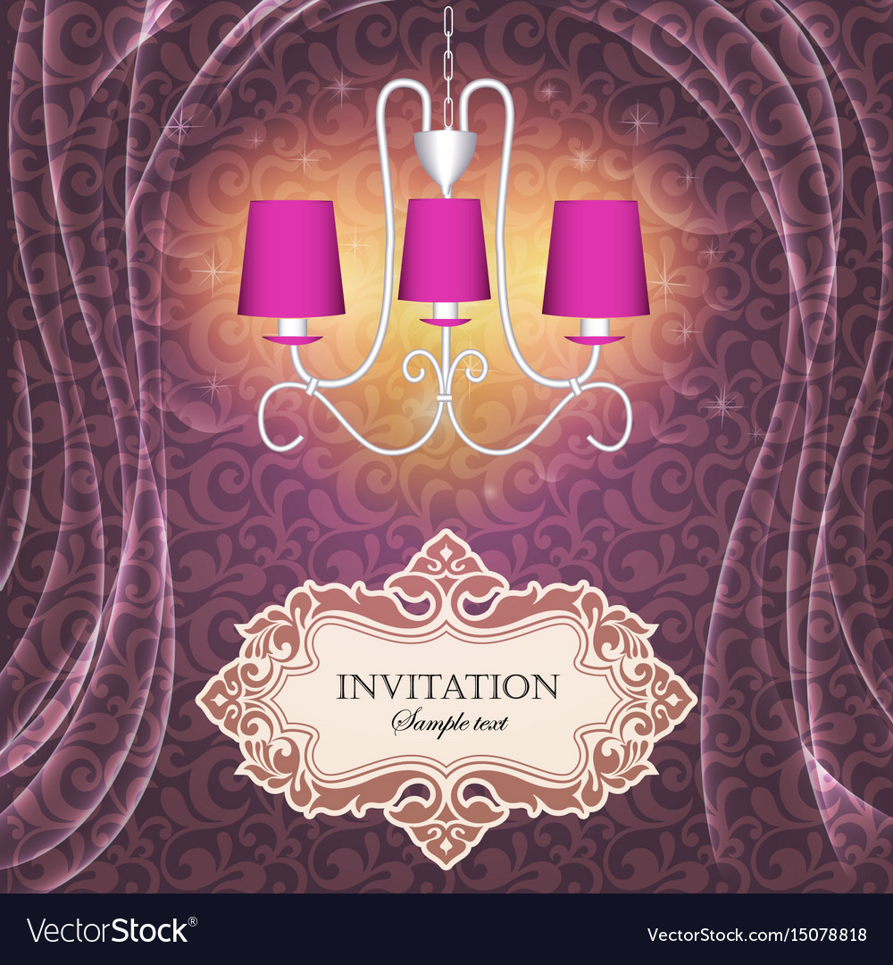 Background with curtains and a chandelier with