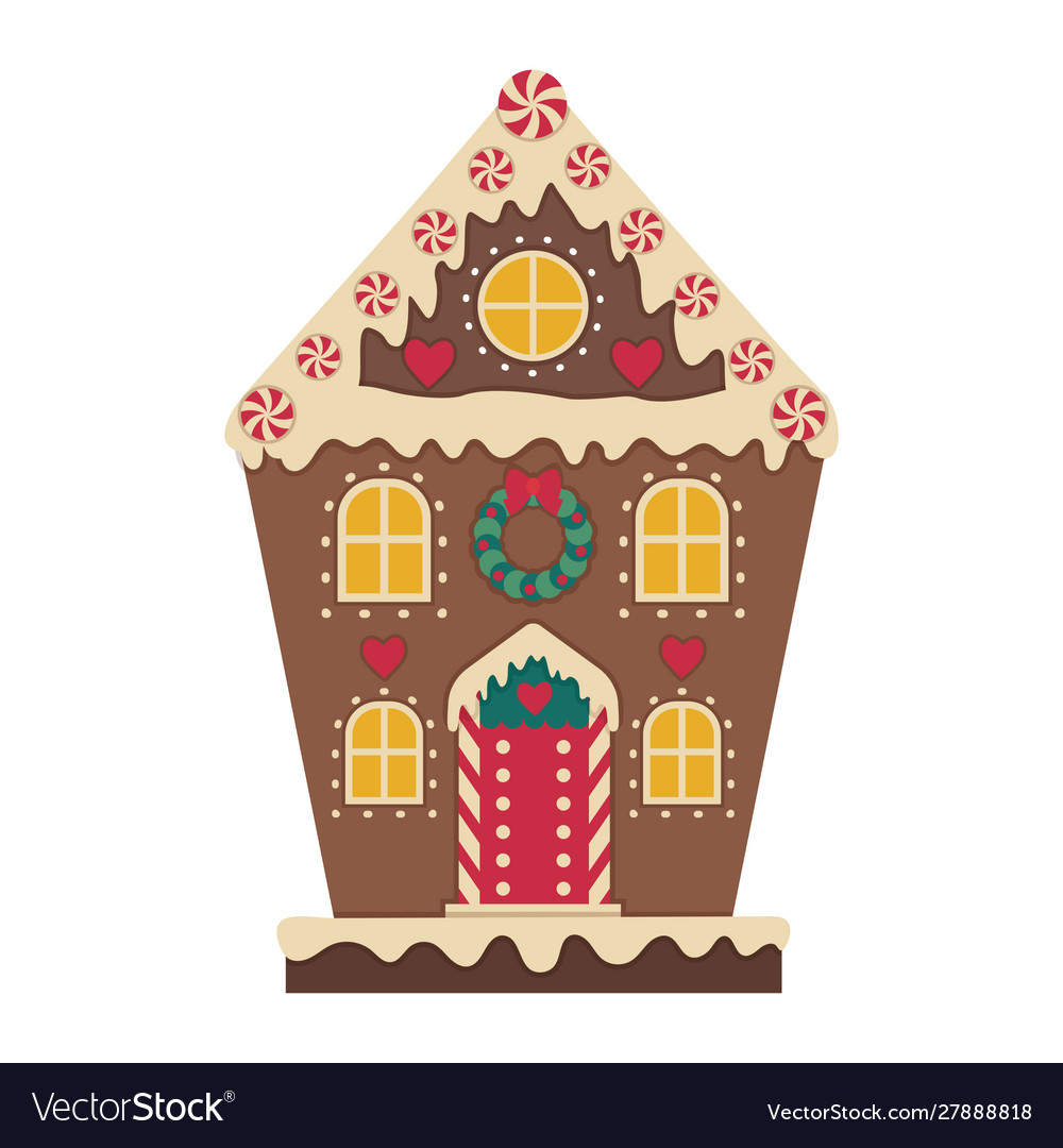 Christmas gingerbread house decorated with icing