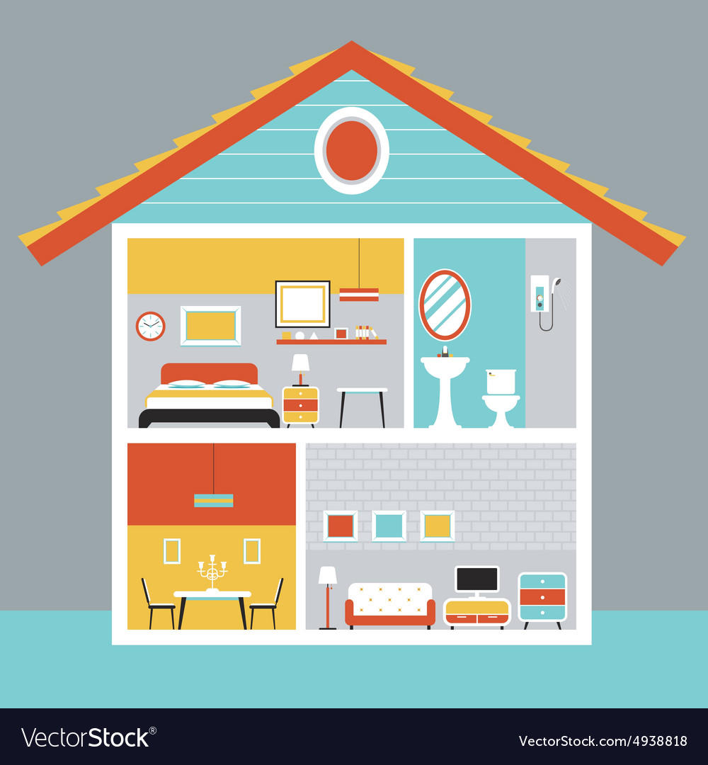 Cutaway House with Room and Furniture Flat Design vector image