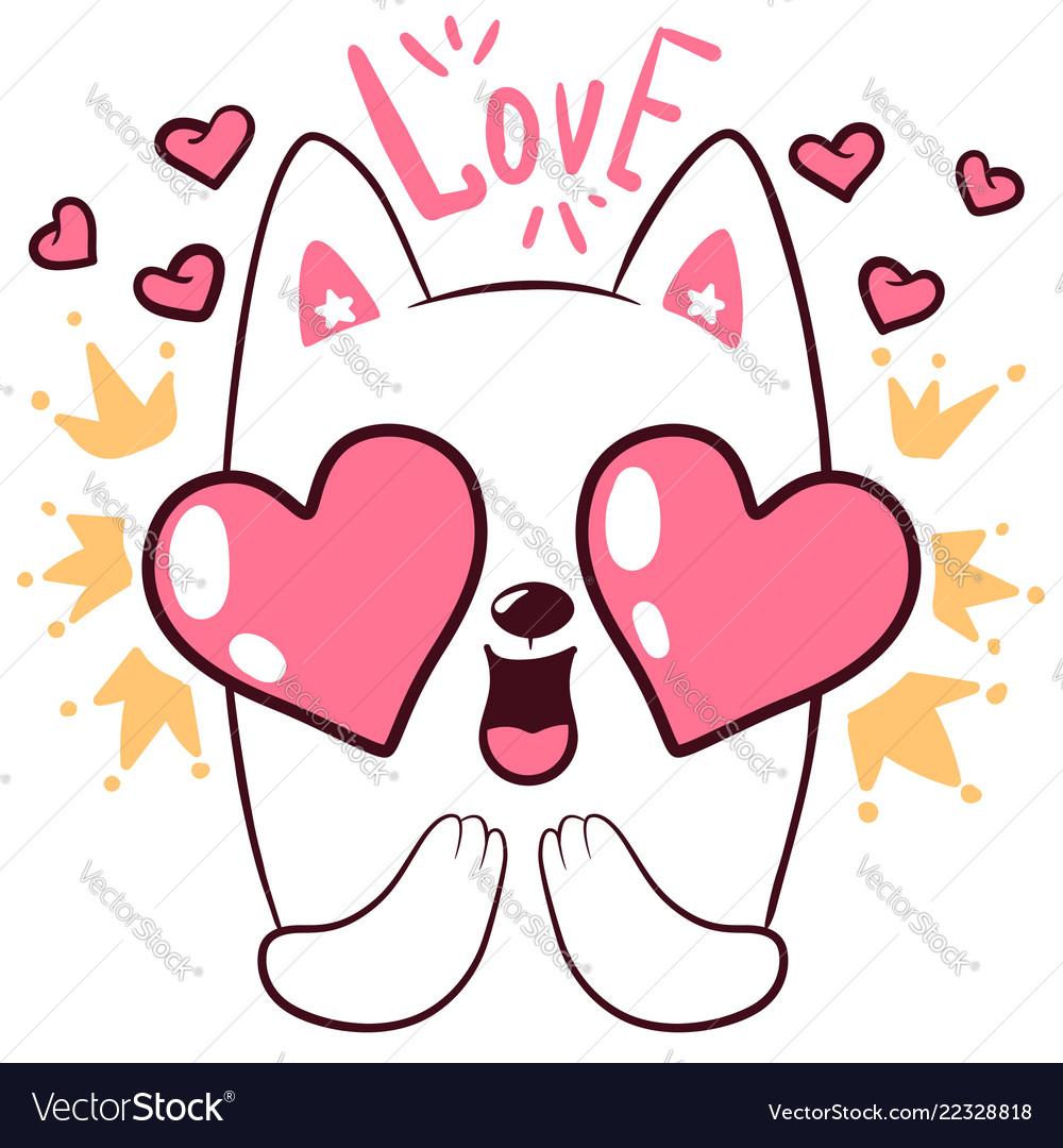 Cute love cat little princess characters