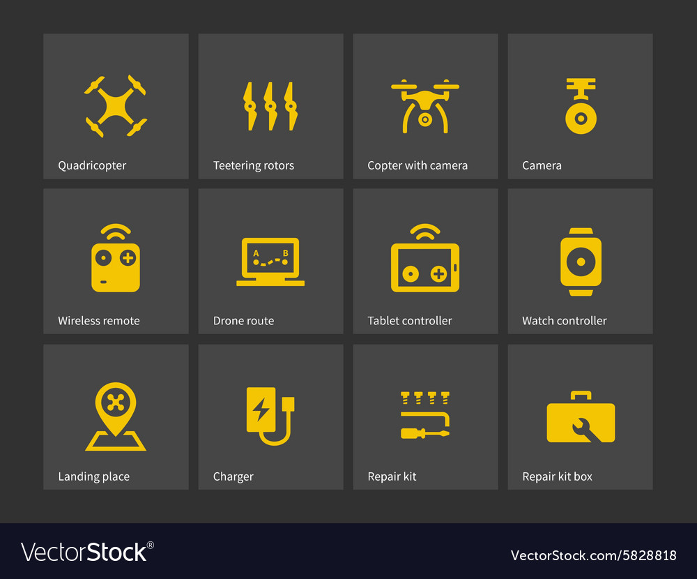 Delivery quadcopter drone icons