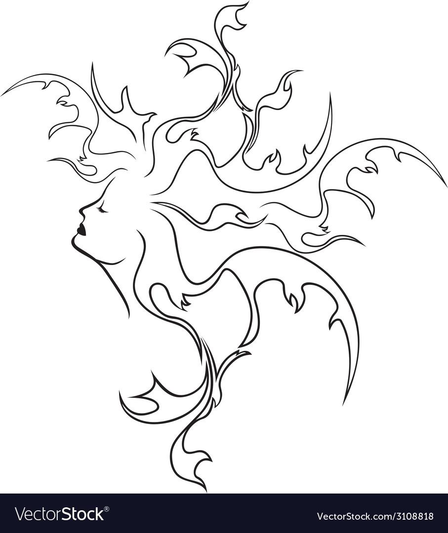 Fantasy girl profile vector image