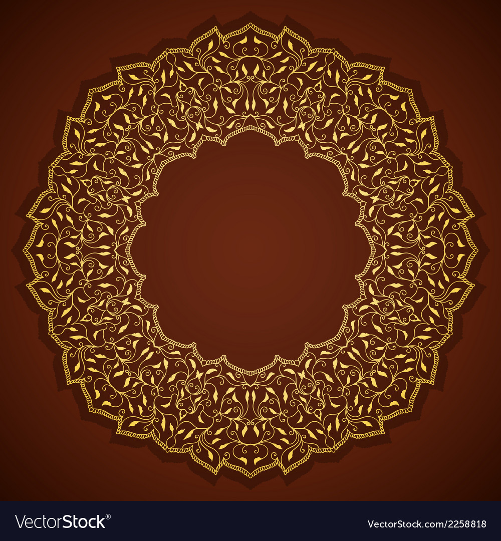 Lace gold round ornament with leaves