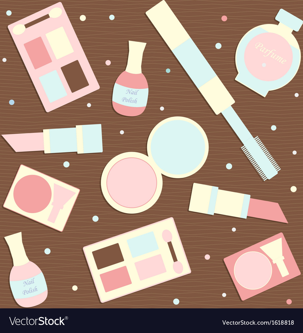 Makeup seamless pattern vector image