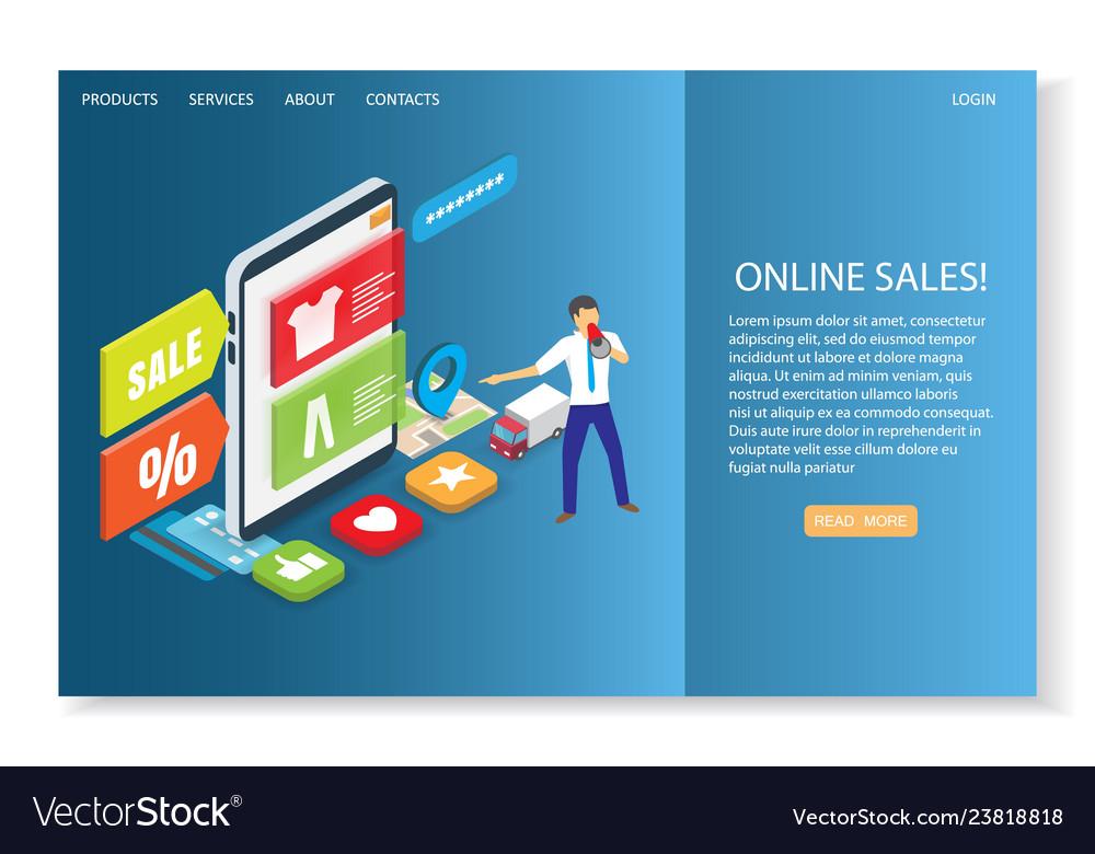 Online sales website landing page design