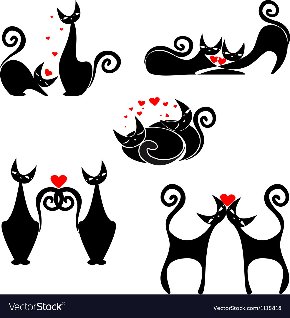 Set of stylized figures of cats