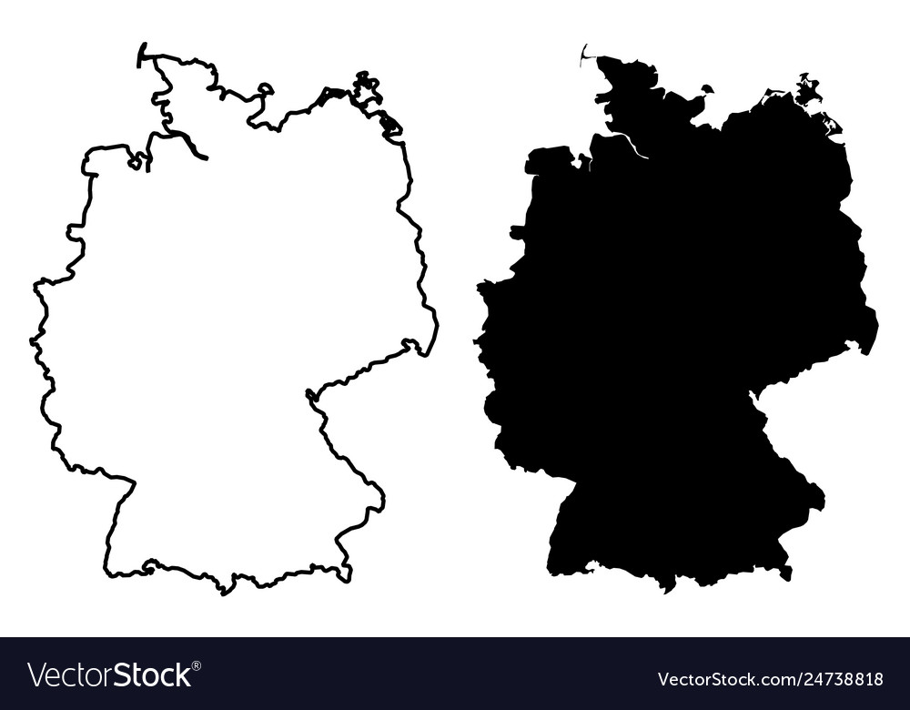 Simple Map Of Germany.Simple Only Sharp Corners Map Germany Drawing