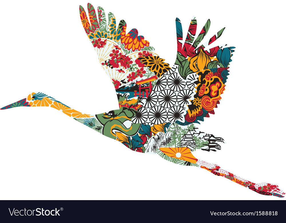 Stork in Japanese ornament vector image