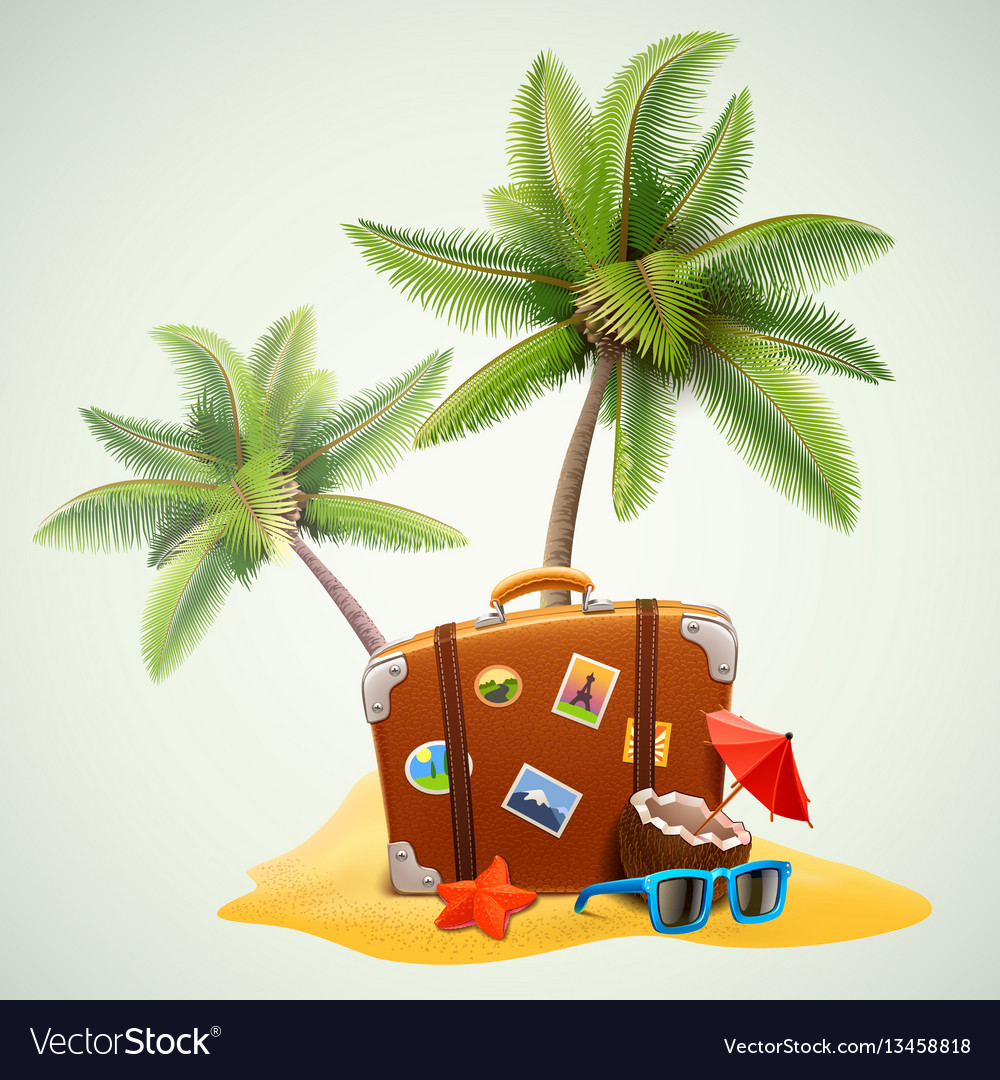 Travel suitcase on beach with palms