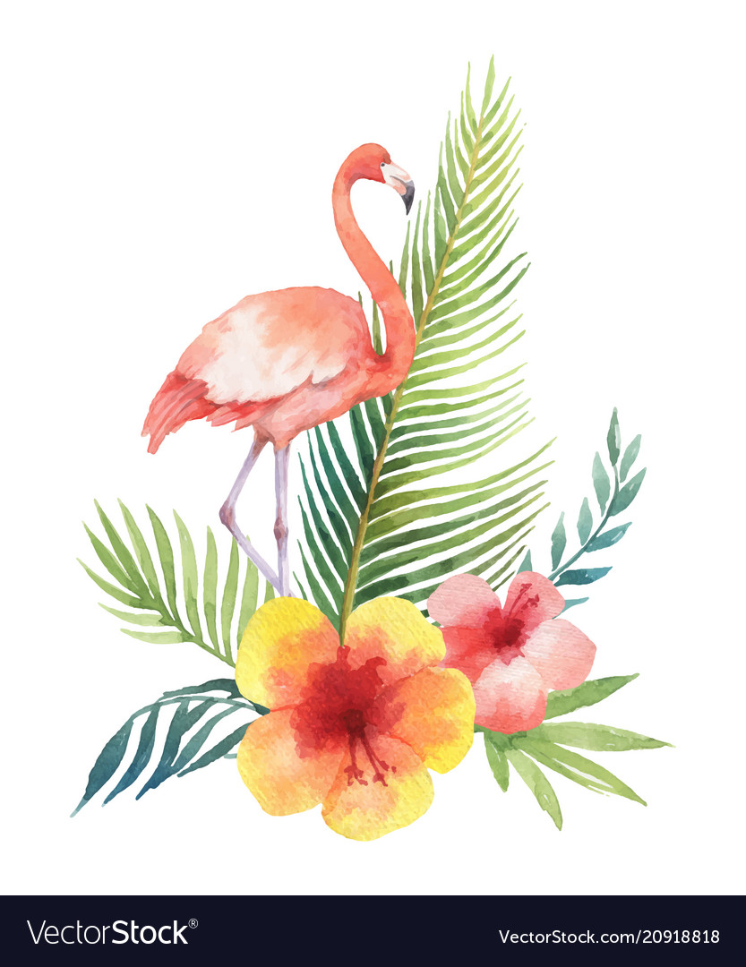 Watercolor card of tropical leaves and the