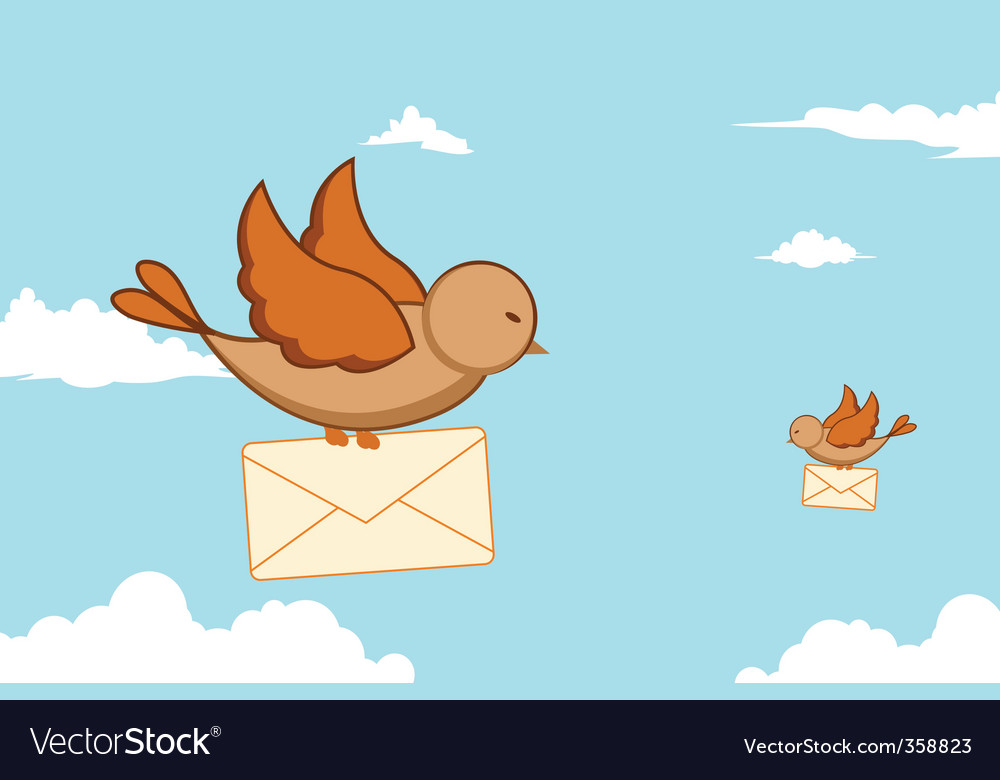 Birds with letters vector image