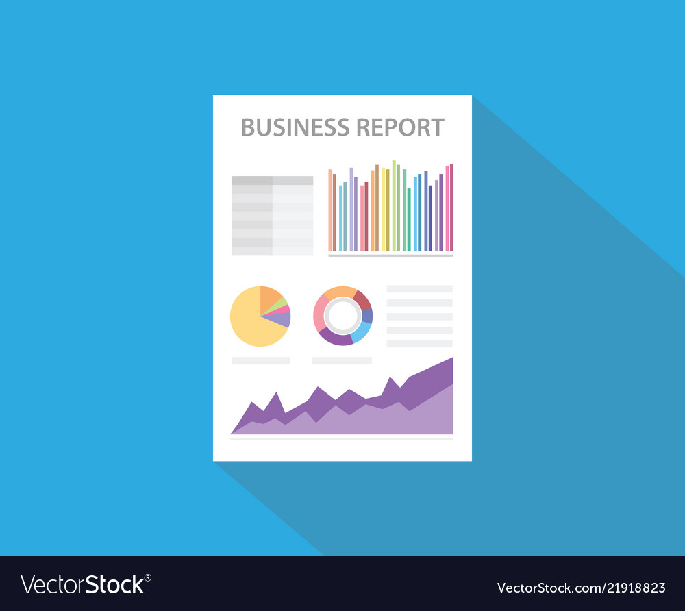 Business report with paper document and graph and