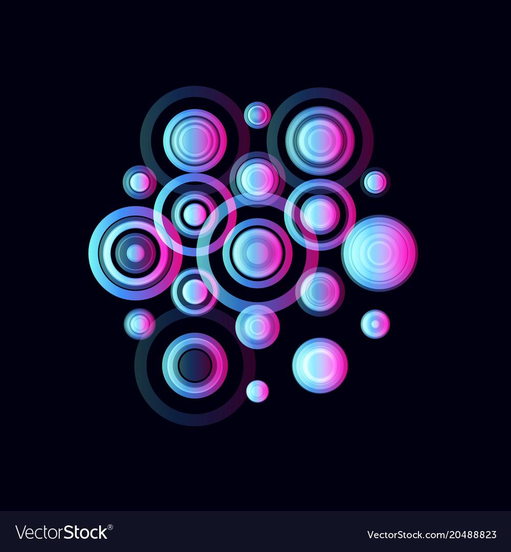 Colorful circles pulsating audio speakers