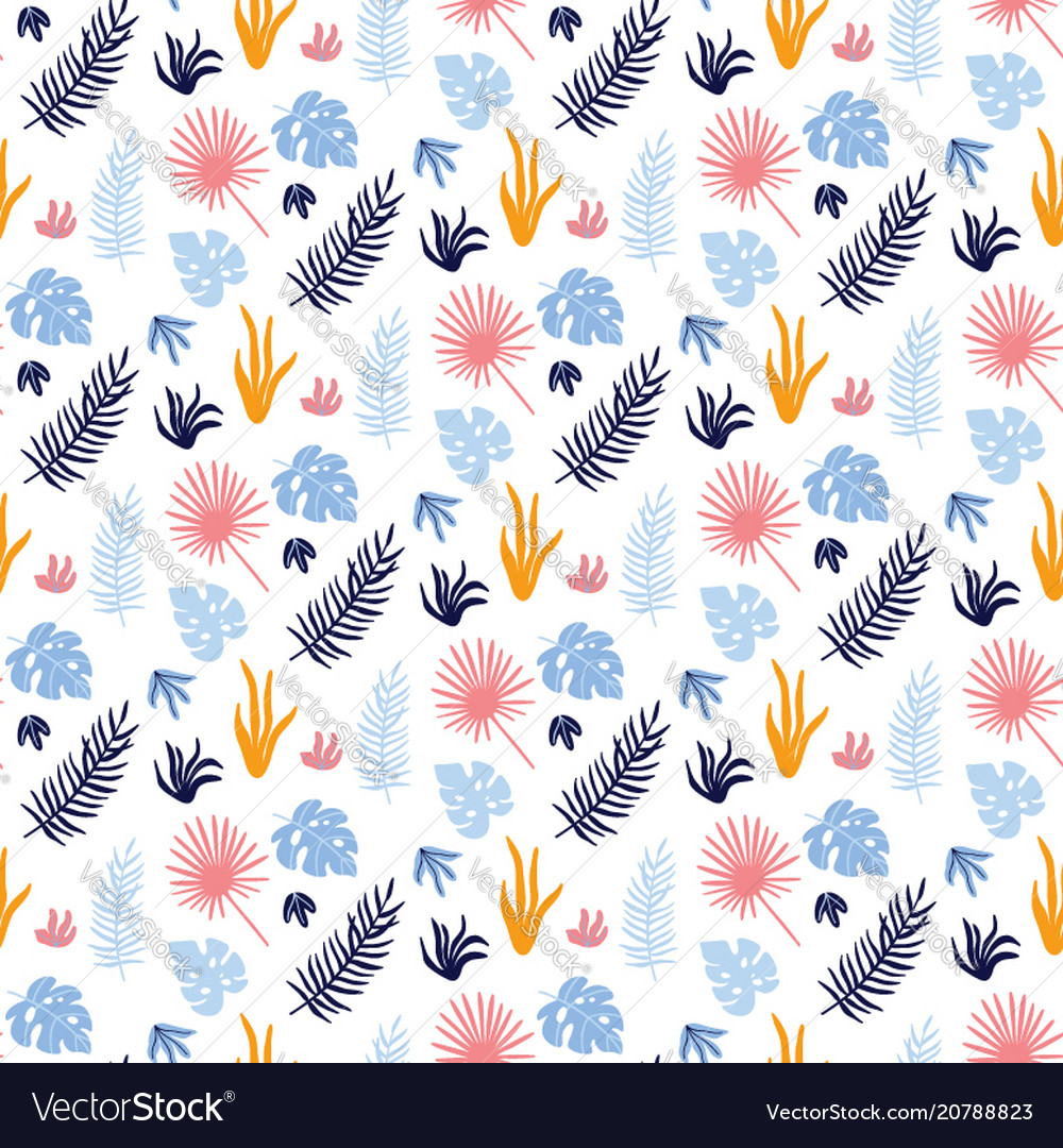 Colorful s seamless pattern with tropical leaves