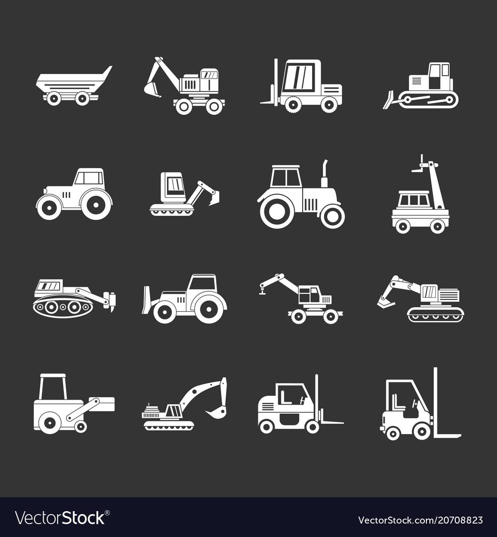 Construction vehicle icon set grey