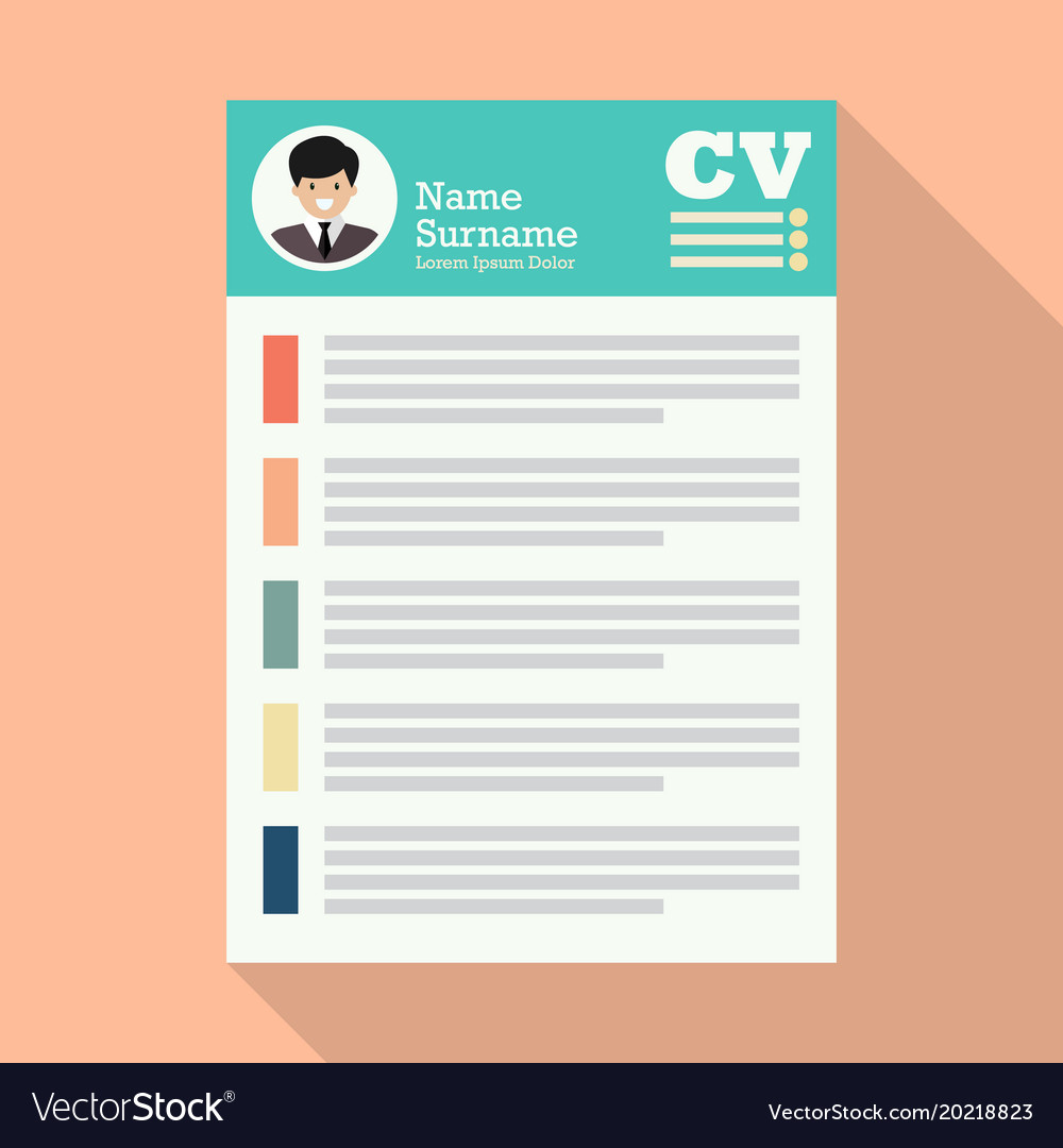 Curriculum Vitae Or Cv Application Paper Sheet Vector Image