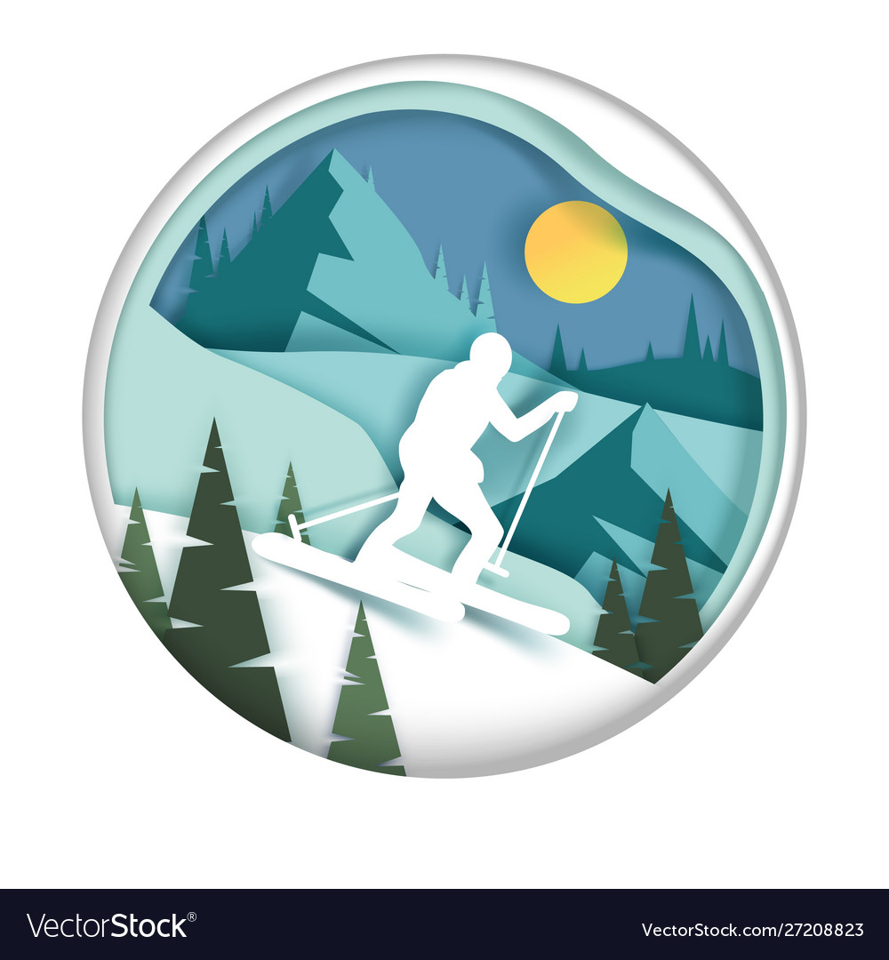 Downhill skiing in paper art