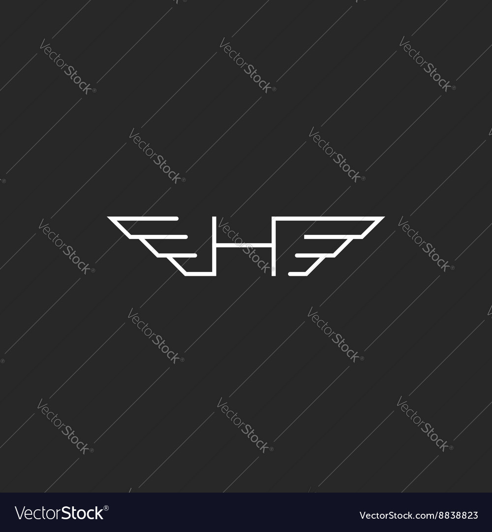 Feathered letter h logo wingy monogram emblem vector image altavistaventures Image collections