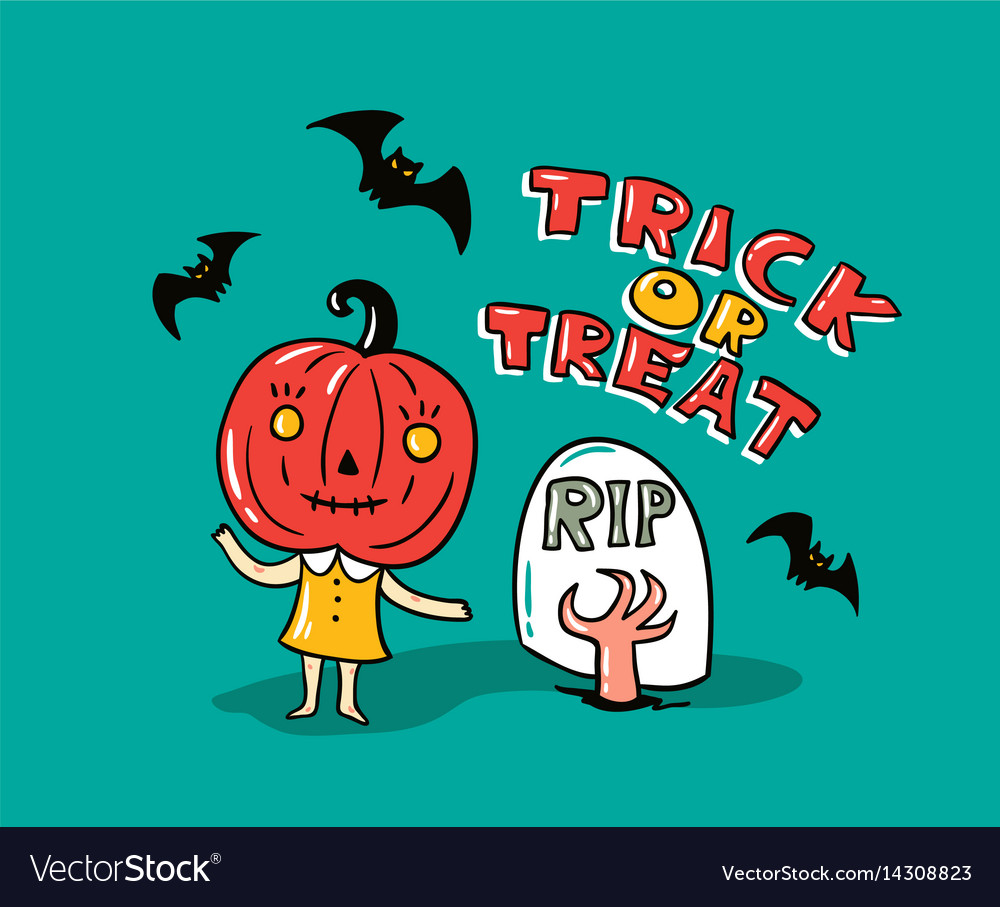 Halloween card with stylish lettering - trick or