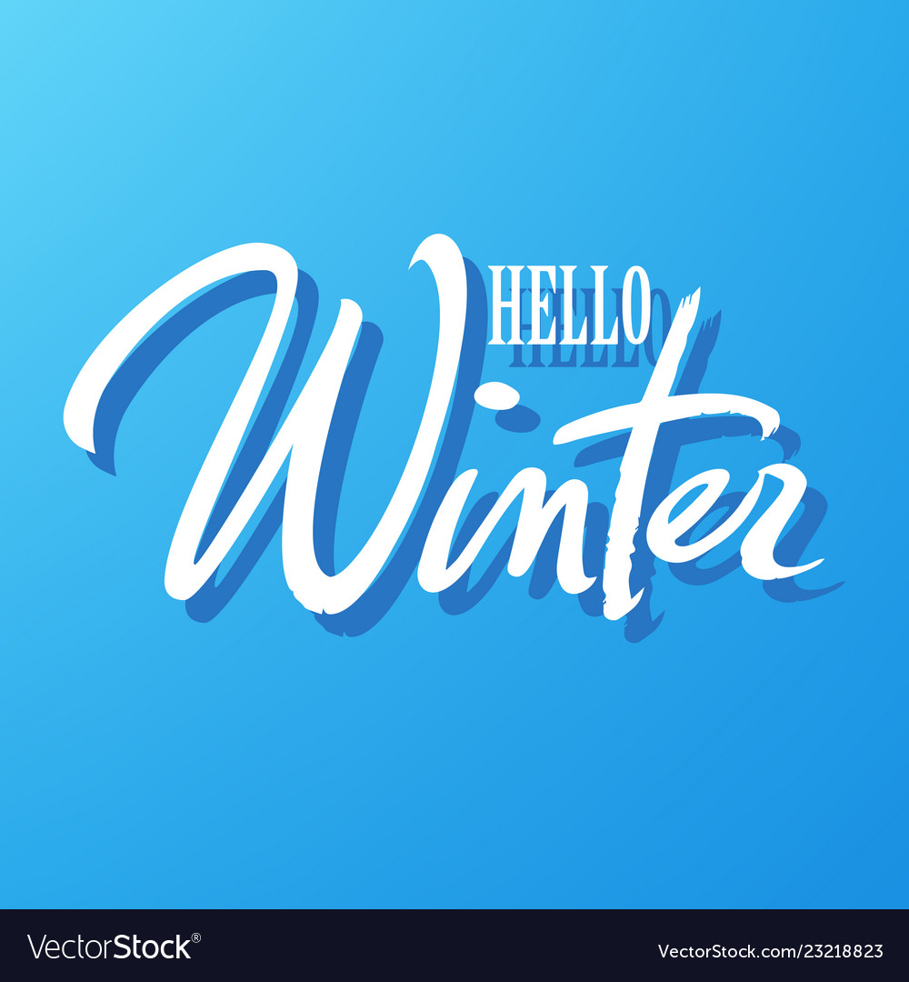 Hello winter typography hand written lettering
