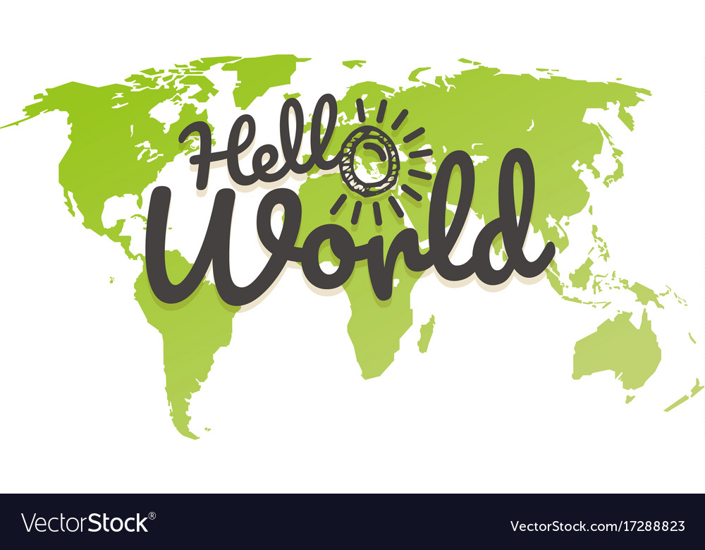 Hello world world map with the logo royalty free vector hello world world map with the logo vector image gumiabroncs Gallery