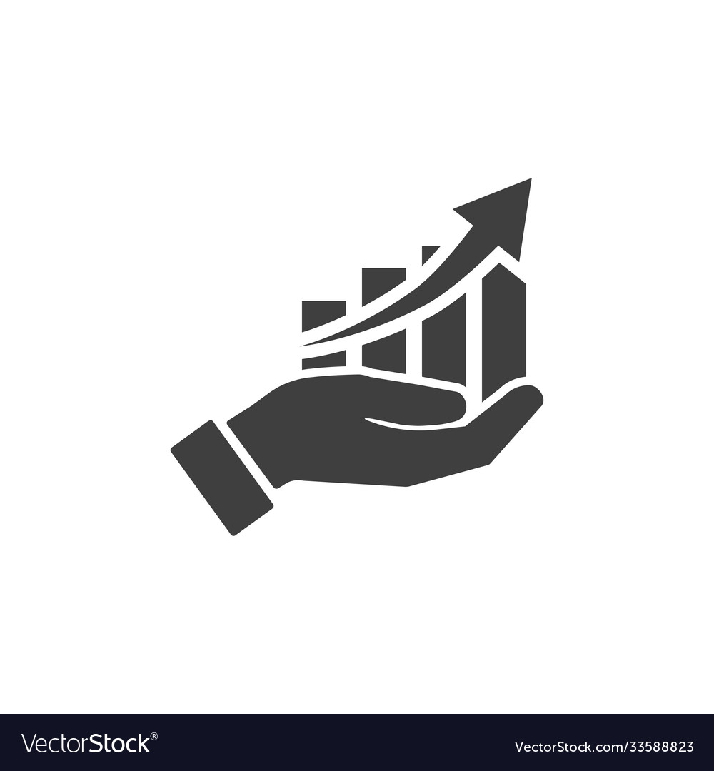 Icon hand with profit chart on white background