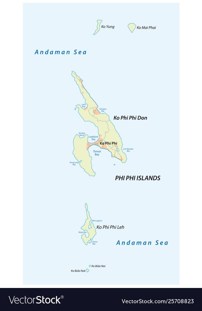Map thai archipelago phi phi islands