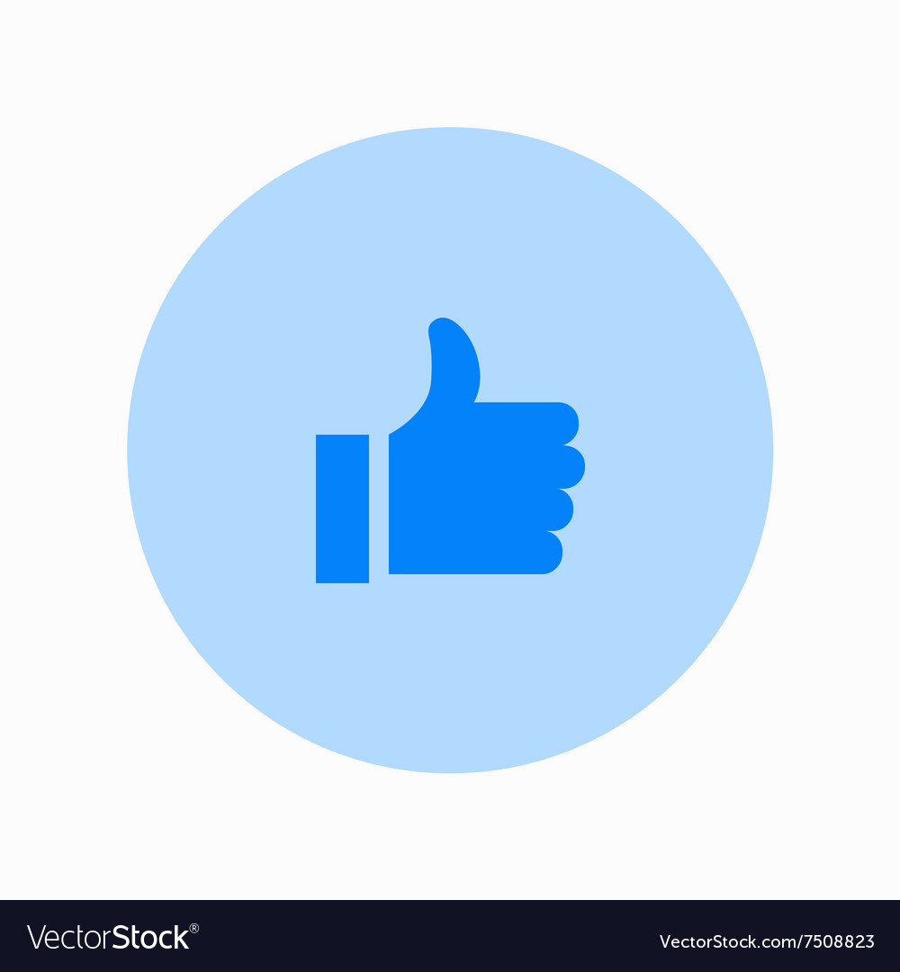 Modern thumbs up circle icon on white