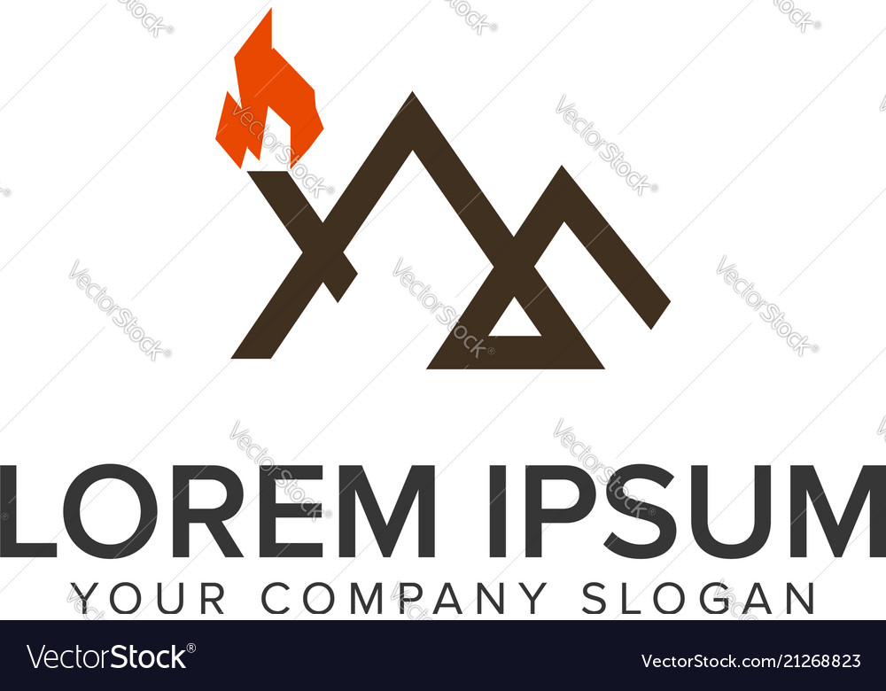 Mountain minimal line adventure logo design