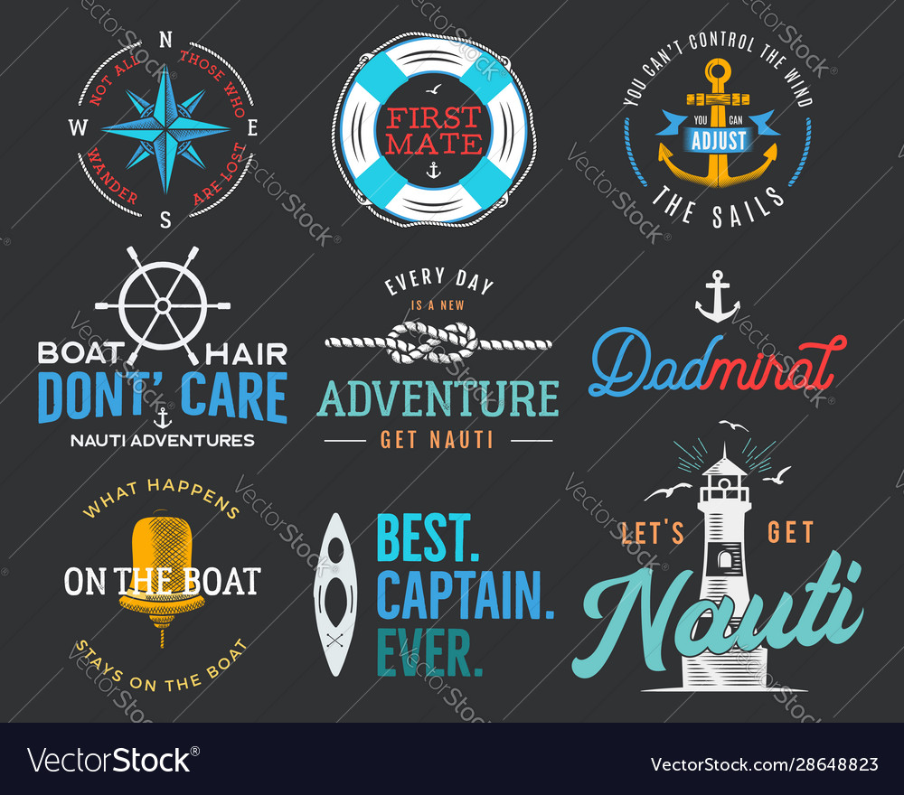 Nautical vintage prints designs set for t-shirt