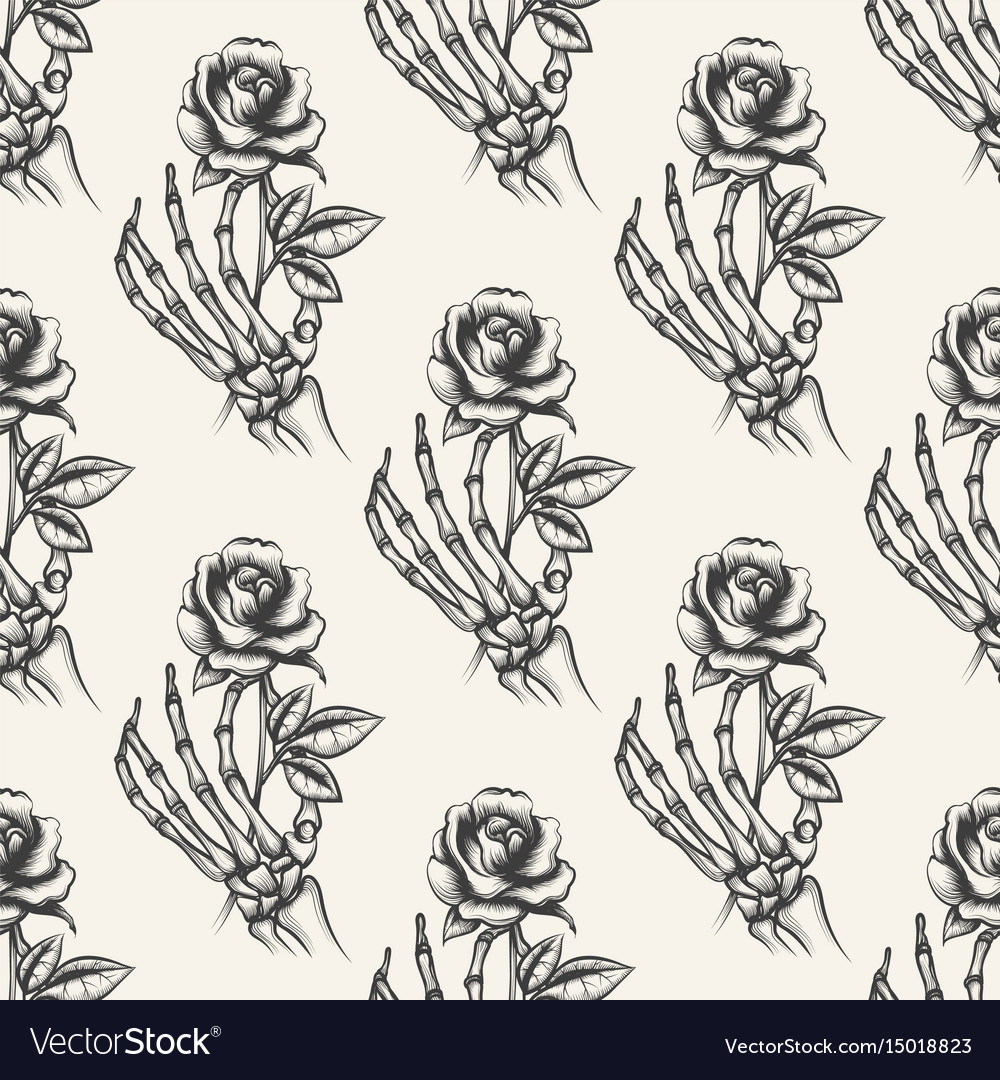 Skeleton hand with rose seamless pattern